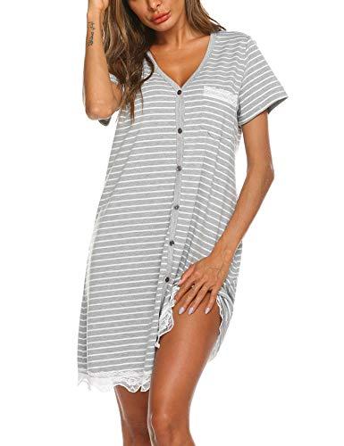 Ekouaer Women's Short Sleeve V-Neck Button Down Lace Nightgown Soft Sleeping Shirts Nightshirts (Nightgown)