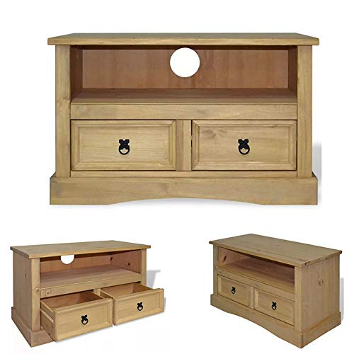 h4home Rustic Wooden TV Stand 2 Drawers Country Sideboard Solid Pine Wood Furniture Farmhouse TV Cabinet Unit Low Board Living Room Lounge Entertainment Television Media Storage ()