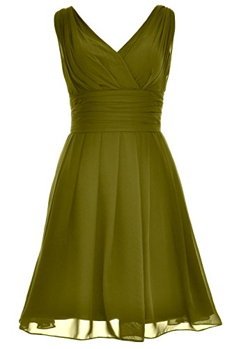 MACloth Women V Neck Backless Short Bridesmaid Dress Wedding Party Cocktail Gown Verde Oliva