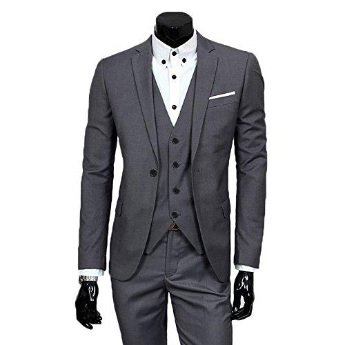 Men's Slim Fit Peak Lapel Suit Blazer Jacket Tux Vest & Trousers...