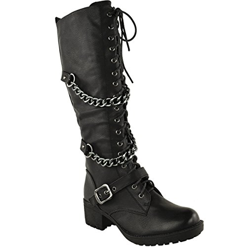 Fashion Thirsty Womens Knee High Mid Calf Lace Up Biker Punk Military Combat Boots Shoes Size