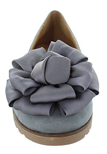 Alleen U Womens Flower Decor Slide Slipper Flats Vera (7, Grijs)