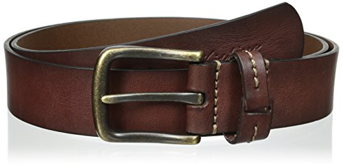 Tommy Hilfiger Men's Big-Tall Casual Bridle Jean Belt With Brass-Finish Buckle (Big Brass Buckle)