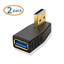Cable Matters 2-Pack, Right Angle SuperSpeed USB 3.0 Male to Female Adapter