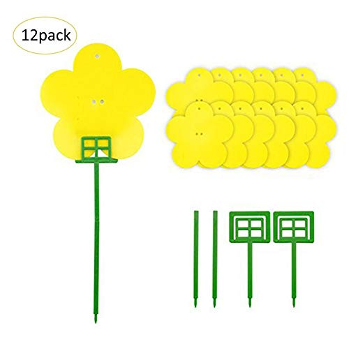 14Pcs Set Double-Sided Sticky Insect Board Fer Type Trap Board Green Plant Fer Potted Insect Board Pest Control