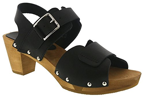 Wooden Art Square Sanita Black Sandals Flex Falak' 455310 Heel CxqwwtSR