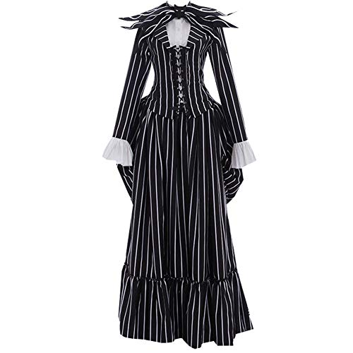 Women Adult Jack Cosplay Costume Skull Uniform Halloween (XXL) -