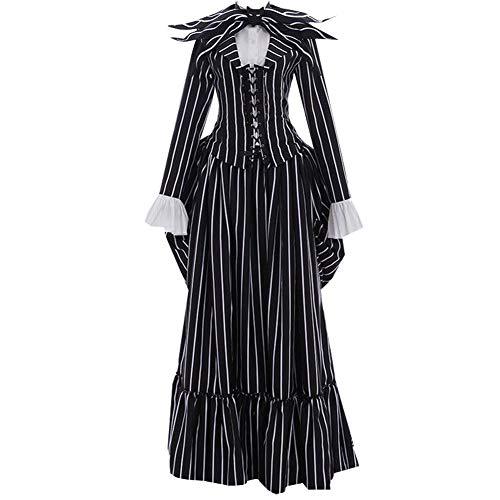 Women Adult Jack Cosplay Costume Skull Uniform Halloween (L) -