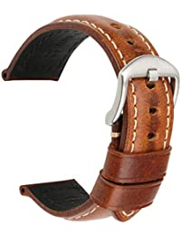 Vintage Oil Wax Leather Strap Watch Band 5 Colors Available 18mm 19mm 20mm 21mm 22mm 23mm 24mm 26mm Watchband Greasedleather Wristband (Band Width 20mm, Light Brown+Silver Clasp)