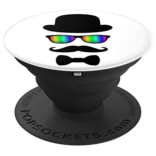 Mustache Hat Glasses and Bow Tie - Black White and Rainbow - PopSockets Grip and Stand for Phones and Tablets