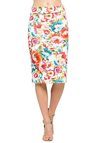 Classic Spandex Skirt - Junky Closet Women's Comfort Stretch Pencil Midi Skirt (2X-Large, T2936SKEI Ivory)