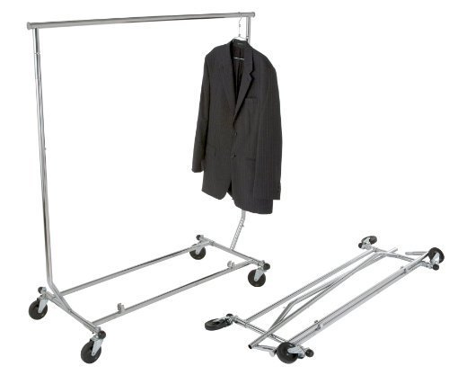 "Chrome Single Rail Classic Rolling Foldable Clothing Rack (""Salesman Rack""; all round tubing)"