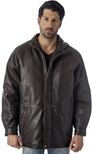 REED Men's 34'' Raglan Car Coat in Imported Lamb with Zip-Out Lining (L, Brown)