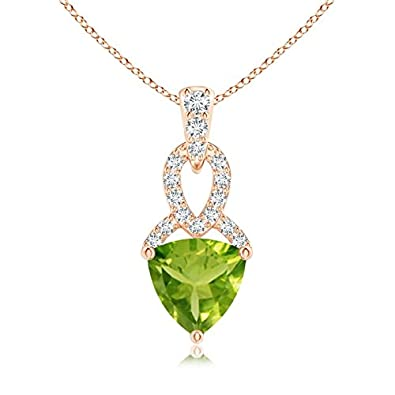 Angara Trillion Peridot and Diamond Drop Pendant in 14K Yellow Gold 8Qe0RPes