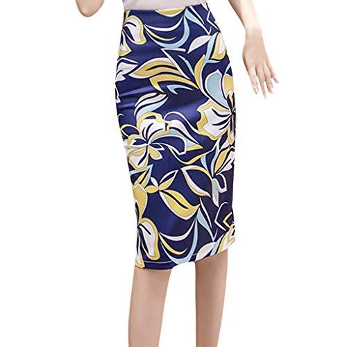 RIUDA Women Summer Slim Trend Comfortable Casual Bag Hip Skirt Print Elastic Waist Swing Midi Skirt -