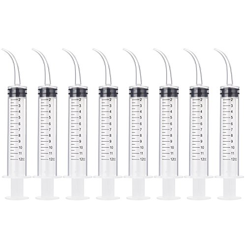 8 Pack Disposable 12cc Dental Syringe Dental Irrigation Syringe with Curved Tip, Tonsil Stone Squirt Mouthwash Cleaner(with -