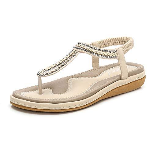 (flip Flops for Women,Women's Bohemia Flip Flops Summer Beach T-Strap Flat Sandals Comfort Walking Shoes Beige)