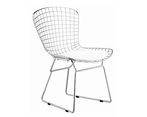 Mod Made Mid Century Modern Chrome Wire Dining Side Chair for Dining Room Kitchen or Outdoor, White (Wire Outdoor Chairs)