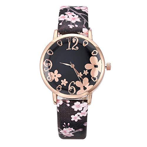 (XBKPLO Japanese Cherry Blossom Women Watches Quartz Embossed Flowers Analog Wrist Watch Leather Strap Temperament Sakura Small Fresh Watch Ladies Gift)