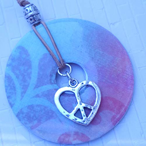 - Heart shaped Peace sign charm on pastel colored Pendant Necklace