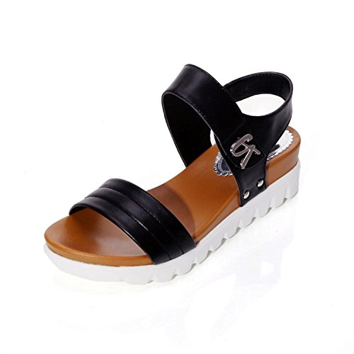 Kingko® Women's Summer Wedge Heel Sandals Fashion Buckle Solid Cool Shoes Black C9pWob