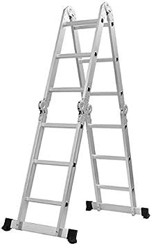 HITSAN Escalera multiusos de aleación de aluminio 3,6 m 4 pliegues x 3 escalones andamio extensible una pieza: Amazon.es: Bricolaje y herramientas