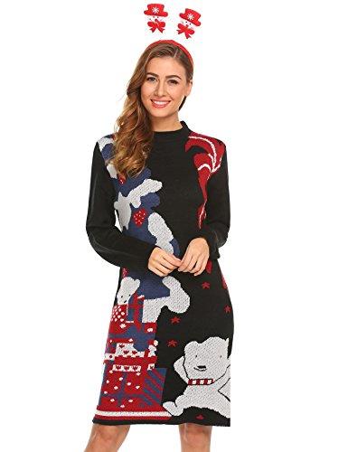 Zeagoo Women Slim Fit Long Sleeve Print Knit Jumper Dress Black_XL (Christmas Care Bear Jumper)