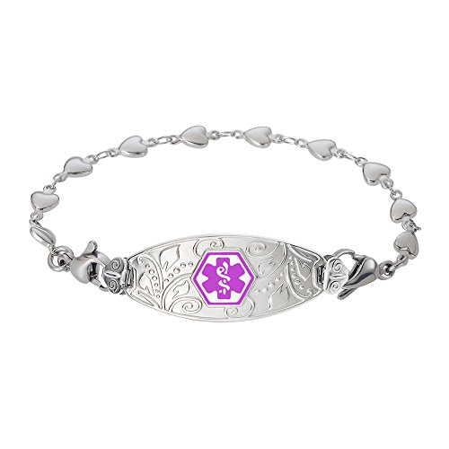 Divoti Custom Engraved Lovely Filigree Medical Alert Bracelet -Heart Link Stainless -Purple-7.0