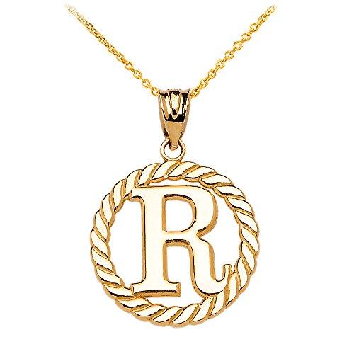 """Collier Femme Pendentif 14 Ct Or Jaune """"R"""" Initiale À Corde Cercle (Livré avec une 45cm Chaîne)"""