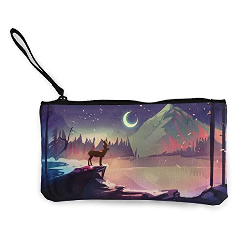 Wristlet Clutch Wallet Ladies Wedding Party Long Purse Town At Night Canvas Coin Purse Handbag