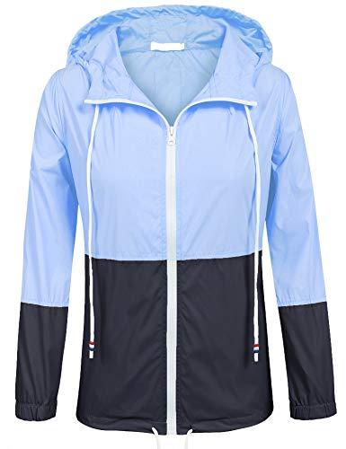 SoTeer Rain Jacket Women Waterproof Hood Lightweight Raincoat Outdoor Windbreaker (Light Blue/Navy XXL)