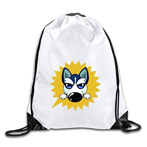 (Logog 8 Cute Huskies Cinch Sack Custom Drawstring Tote Bags Pack Pockets)