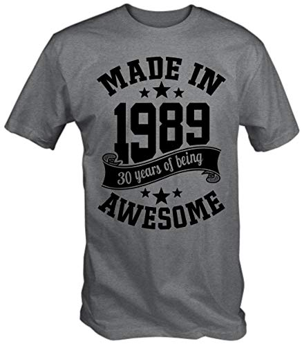 6TN Men's Made in 1989 30 Years of Being Awesome 30th Birthday T Shirt (X-Large, Sport Grey) (Best 30th Birthday Presents)