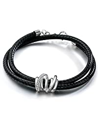 SILVERAGE Wrap Bracelet Layered Black Wax Rope Sterling Silver 925 Charm With Cubic Zirconia