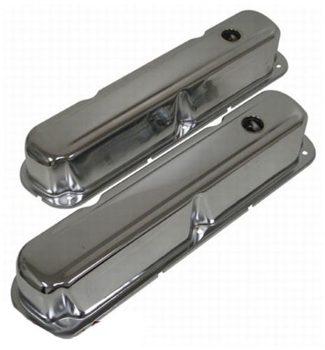 1967-89 Compatible/Replacement for Mopar Small Block 318-340-360 Short Steel Valve Covers - Chrome