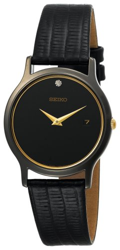Seiko Men's SKP333 Dress Black Leather Strap Watch