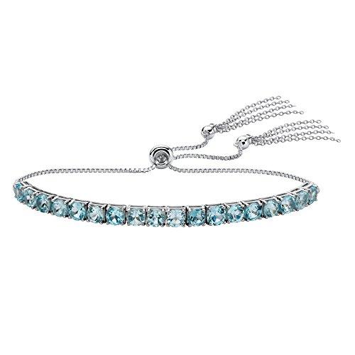 Platinum over Sterling Silver Slider Bracelet (4mm), Round Genuine Blue Topaz, 10