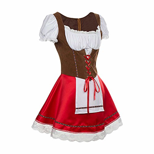 Beer Girl Sexy Costumes (Halloween Women's Bavarian Wench Costume Dress with Attached Apron)