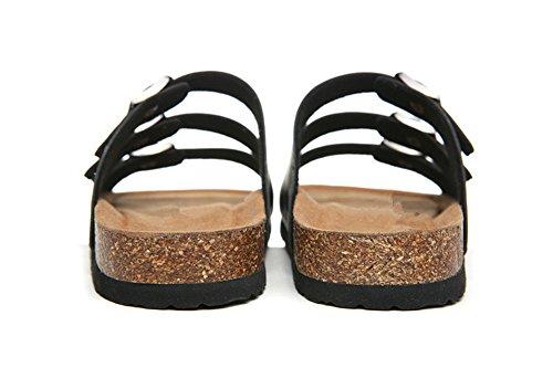 Negro Zapatillas de Playa Flop De Zapatos Sandalias Sandalias Flip Múltiples Mujer Correas Antideslizantes Corcho Moda pie w1fSSq