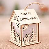 Covermason Wooden House,Christmas Ornaments LED Light Chalet Hotel Bar Christmas Tree Decoration,Christmas Decoration Festival Light Up Cabin Scene Decoration Small House (E)