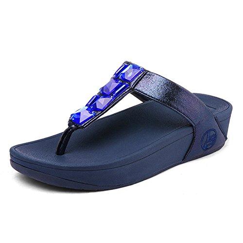 Sandalias Nvxie Antideslizante De Blue Playa Rhinestone Zapatos Fondo Pendiente Grueso Chancletas Pellizcar Mujer wqx1R5Cq