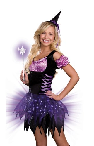 Dreamgirl Teen Switch Witch Dress, Purple /Black, X-Small -