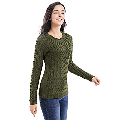 v28 Women Crew Neck Knit Stretchable Elasticity Long Sleeve Sweater Jumper Pullover at Women's Clothing store