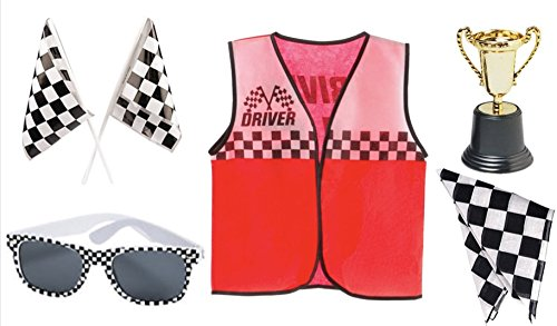 Race Car Driver Role Play Costume Set- Vest, Bandana, Flags, Sunglasses, and Trophy -