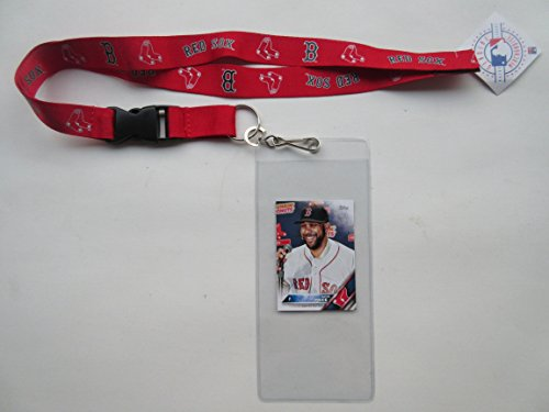 BOSTON RED SOX RED LANYARD WITH TICKET HOLDER WITH COLLECTIBLE PLAYER CARD (Tickets Sox Red)