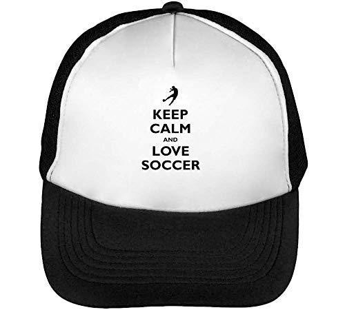 Keep Calm Soccer Gorras Hombre Snapback Beisbol Negro Blanco