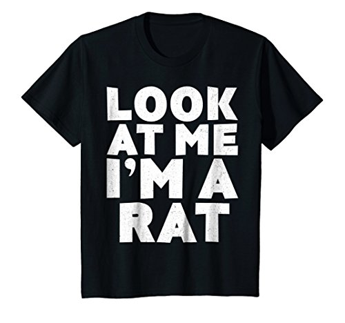 Kids Look At Me I'm A Rat T-Shirt Halloween Costume Shirt 12 Black