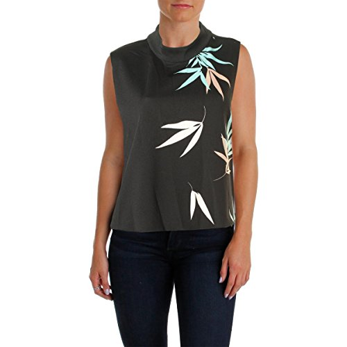 Vince Camuto Womens Mock Turtleneck Leaf Print Crop Top Black XL
