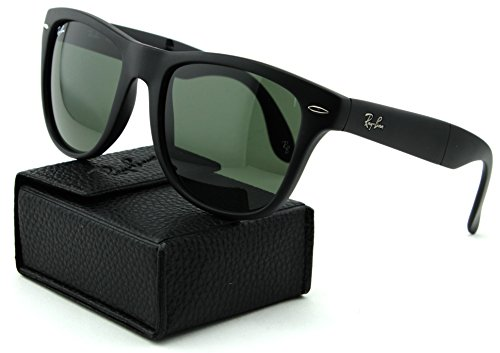 Ray-Ban RB4105 Folding Wayfarer Unisex Sunglasses (Matte Black Frame/Crystal Green Lens 601S, - Matte Folding Ray Black Ban Wayfarer