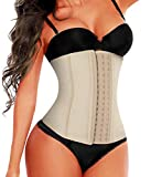 SHAPERX Women 3 Hooks High Waist Trainer Latex Long Torso Cincher Corset for Weight Loss Body Shaper,SZ11588-Beige-XL